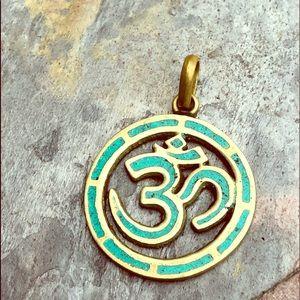 Large Brassy Tone Ohm Pendant w/turquoise inlay
